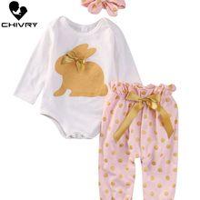Chivry 3Pcs Nowborn Baby Girls Long Sleeve Cute Rabbit Bodysuit + Bow Dot Pants Headband Infant Outfits Cloth Set