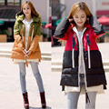 2016 nuevo estilo de moda de invierno ropa de abrigo suelto patchwork chaqueta wadded medio-largo engrosamiento de algodón acolchado ropa de abrigo chaqueta