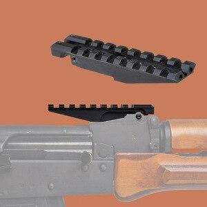 AK dikiz ray dağı 100mm Picatinny Weaver 20mm kapsam sabitleme kaidesi avcılık kırmızı için Dot optik AK47 AK74 adaptörü