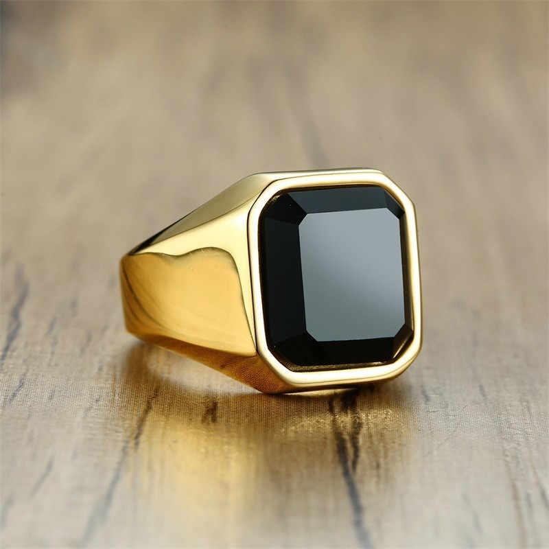 ZORCVENS แฟชั่น Mens Signet แหวนสแตนเลสสตีลสีดำหิน Inlay แหวนผู้ชาย Vintage Biker เครื่องประดับ
