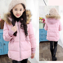 Girl duck down 2016 New Winter children jacket Coat hooded Parkas thick Warm Outwears Waterproof Windproof Clothes Kids Clothing