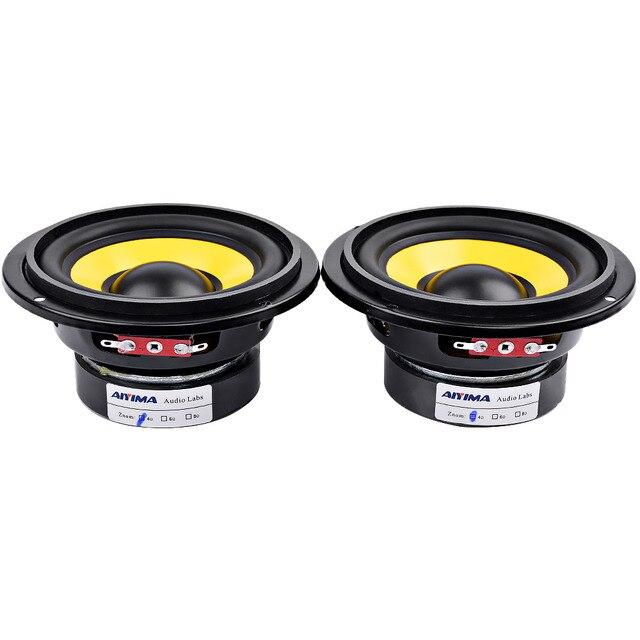 AIYIMA 2Pcs 4 inch Woofer Audio Speaker Portable Mini Stereo Speakers SubWoofer Full Range Car Horn Loudspeaker 4 Ohm /8Ohm 20W 1