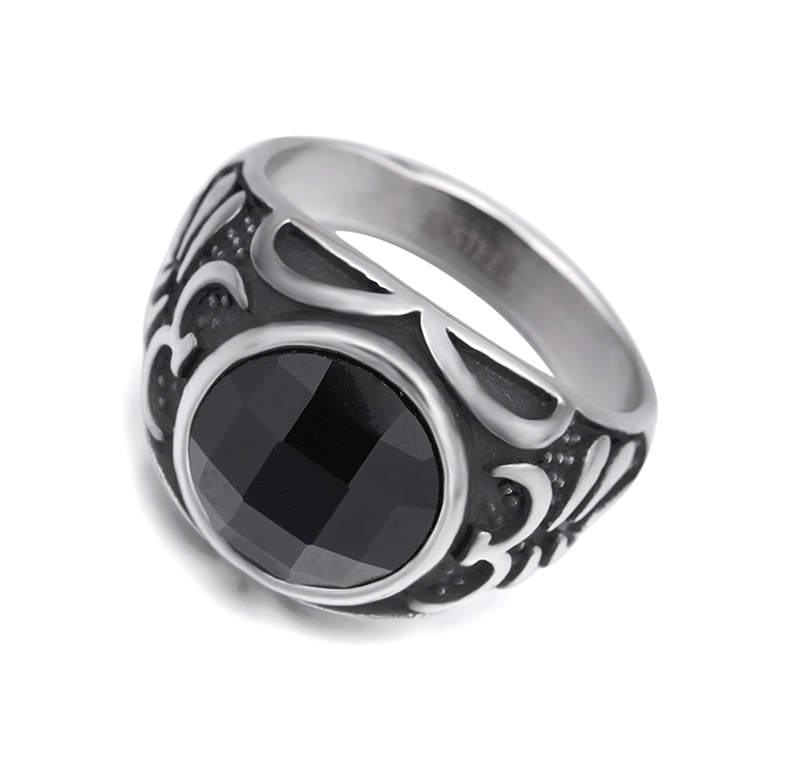 Champoony Round black stone fashion ring made of stainless steel for both man and women Beauty and jewelry