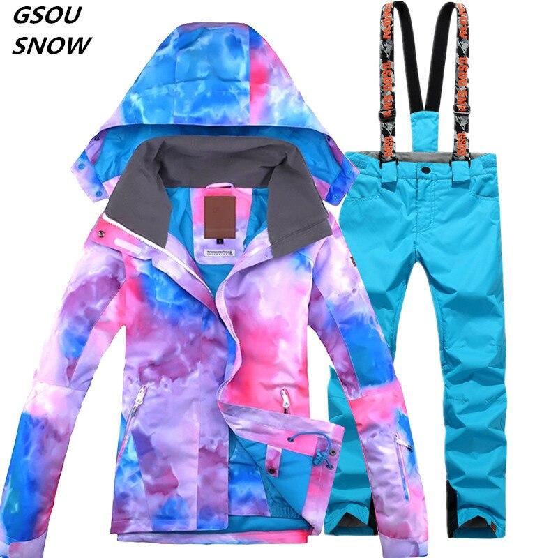 Gsou neige 2017 ski costume gilet conseil ski veste + Pantalon de ski vêtements coupe-vent Imperméable femmes hiver chaud veste de Livraison gratuite