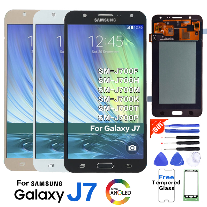 Original <font><b>LCD</b></font> Display For <font><b>Samsung</b></font> Galaxy J7 2015 <font><b>J700</b></font> SM-J700F J700H J700M J700H/DS Touch Digitizer Screen Assembly +Sticker image