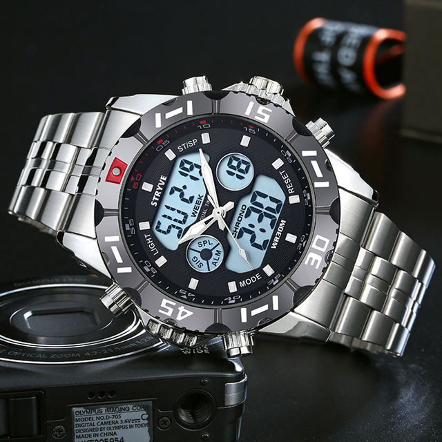 Stryve 8011 Wristwatches Waterproof Watches Men LED Analog Digital Clock Male Army Stainless Digital Watches Relogio Masculino