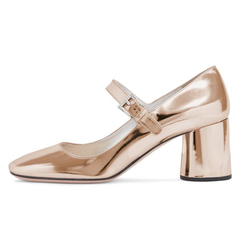 bc736a74992c FSJ Mature Gold Silver Women s Leather High Thick Heels Buckle Shoes  Champagne Mary Jane Pumps Square Toe Dress Career Shoes 42-in Women s Pumps  from Shoes ...