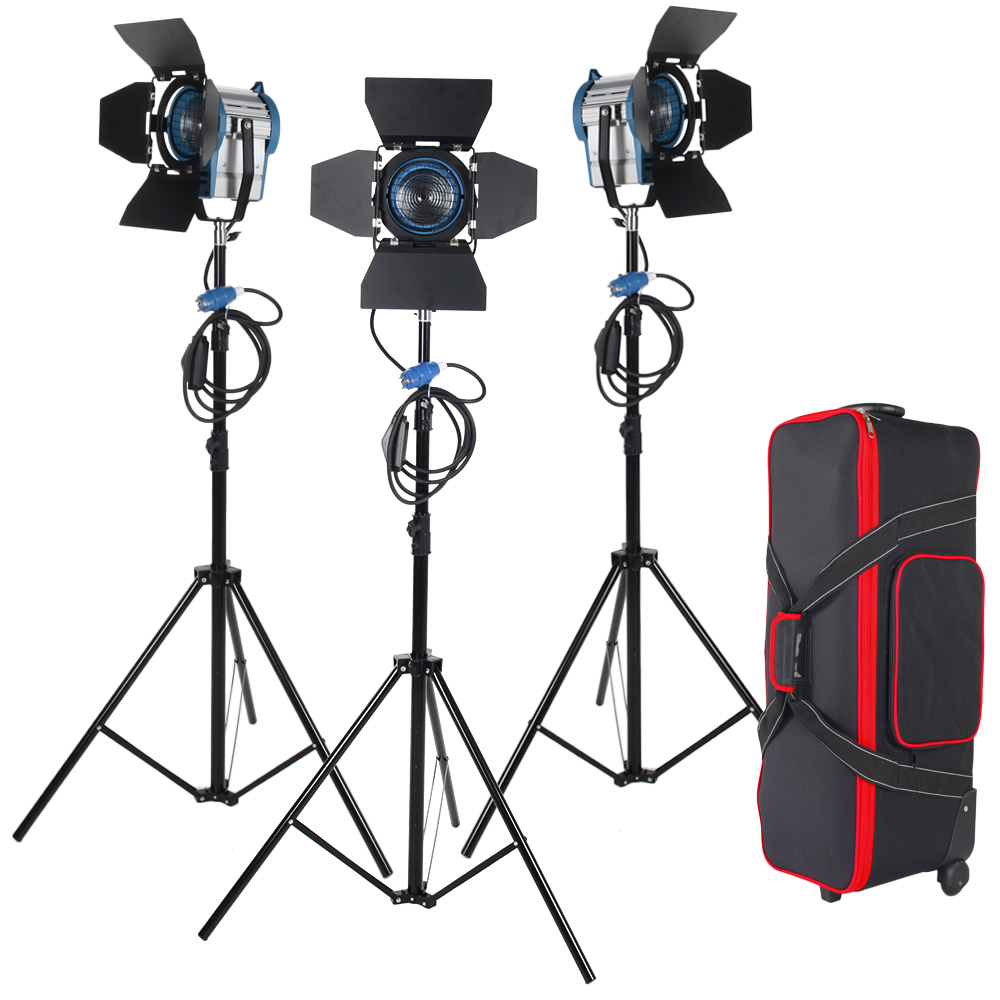3 X 650W Studio Fresnel Tungsten with dimmer control Spotlight Video Light Kit Lighting with Carry Case ashanks 3kits 800w dimmer switch studio video red head light kit bulb carry bag for video film light