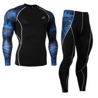 MMA Men's Compression Run jogging Suits Clothes Sports Set shirt And Pants Gym Fitness workout Tights clothing high quality