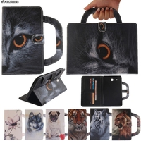 Card Slots Tablet Case For Samsung Galaxy Tab E 9 6 T560 T561 Dog Cat Tiger