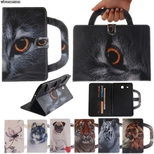 Card Slots Tablet Case For Samsung Galaxy tab e 9.6″ T560 T561 Dog Cat Tiger Handbag Flip PU Wallet Leather Magnet Cover