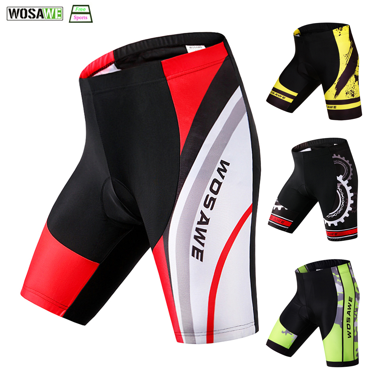 WOSAWE 5D Padded Cycling Shorts Breathable Shockproof MTB Bicycle Shorts Road Bike Shorts Man Women Cycling Tights