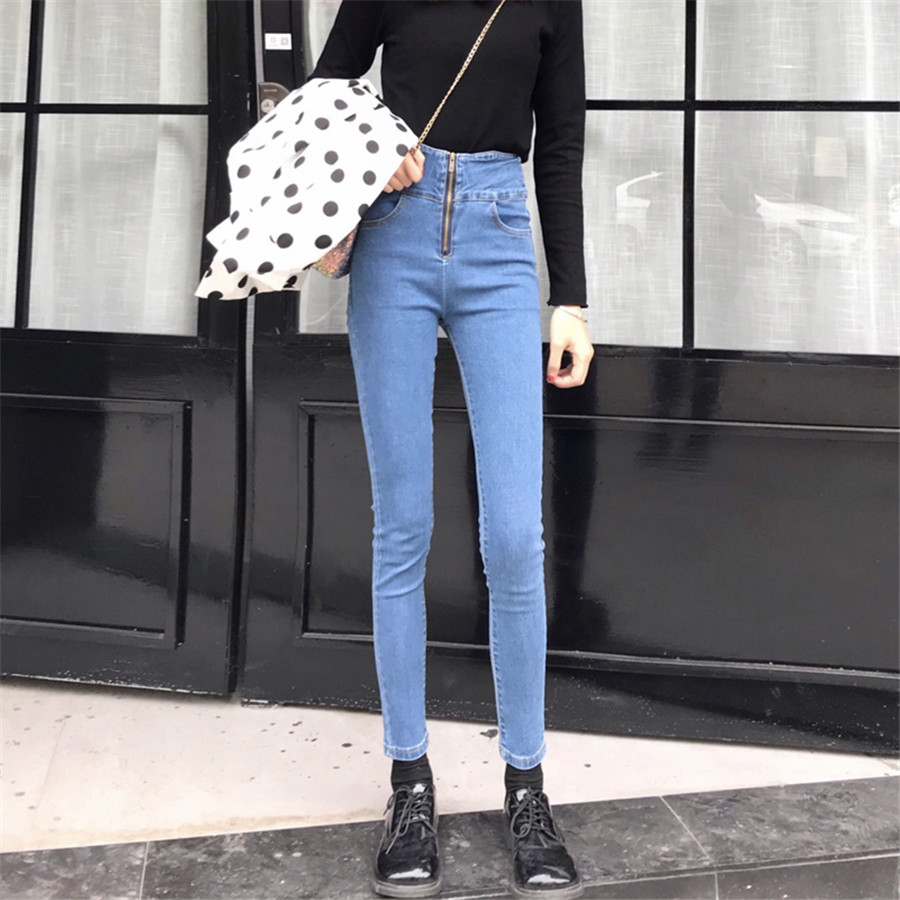 Fashion Soft Jeans For Women High Waist Zipper Fly Elastic Skinny Denim Pencil Pants Ankle Length Femme Trousers Boyfriend Jeans