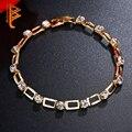 Luxury Yellow Gold Plated Link Chain Bracelet for Women Shining AAA Cubic Zirconia Crystal Bracelet&Bangle Jewelry Wedding Gift