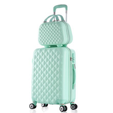 2PCS/SET fashion Cosmetic bag 20/22/24/28 inch girl students trolley case Travel spinner Password luggage woman rolling suitcase(China)