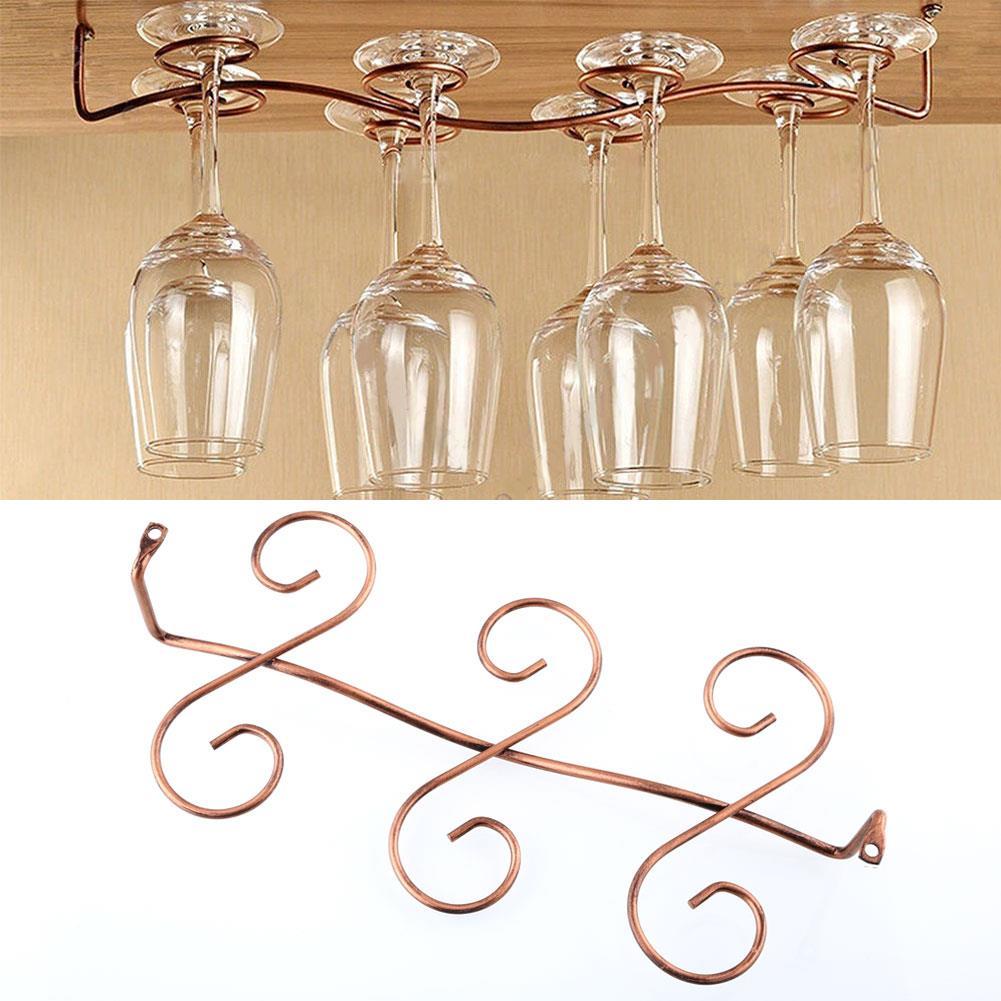 6 Hooks Cup Holder Hang Kitchen Cabinet Under Shelf: 6 Wine Glass Rack Stemware Hanging Under Cabinet Holder