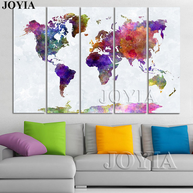 Aliexpress buy large world map canvas art watercolor painting large world map canvas art watercolor painting set maps wall decor pictures prints and poster 4 gumiabroncs Images