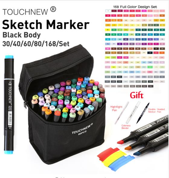 Touchnew 30/40/60/80/168Colors Art Markers Set Alcohol Oily Base Sketch Markers Pen For Drawing Animation Manga Supplies 24 30 40 60 80 colors sketch copic markers pen alcohol based pen marker set best for drawing manga design art supplies school