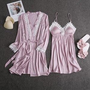 Image 4 - Marka fiklyc 2019 wiosna nowy nabytek sztuczny jedwab szlafrok + koszula nocna dwa kawałki szata i suknia zestaw z wyściełana klatka piersiowa koronki patchwork