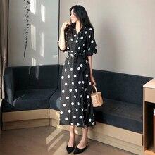 Vintage Black Polka Dot Dress Women Korean Style Casual V Neck Half Sleeve Summer Dress 2019 Chic Lace-up Women's Dress Elegant