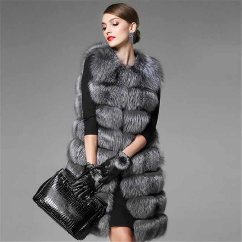 Female Oversized Thick Fur Vests Women Winter Warm Colete Waistcoat Plus Size Long Advanced Imitation Fox Fur Overcoat Outerwear