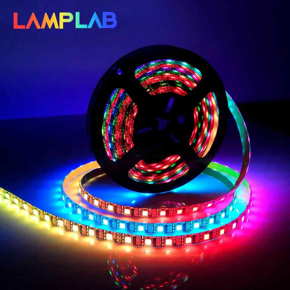 WS2812B LED Strip DC 5V Hitam Putih PCB Smart Addressable Pixel WS2812 IC 30/60/144 LED RGB 50CM 1M 2M 3M 4M 5M 17Key Bar