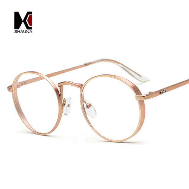 485431a168e SHAUNA Vintage 6 Colors Thick Metal Frame Women Round Reading Glasses Nail  Decoration Fashion Men Clear Lens Eyewear