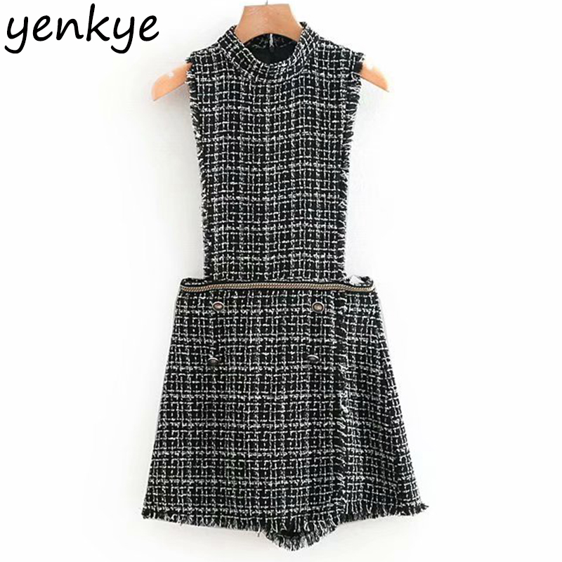 Women Bead Appliques Vintage Tweed   Jumpsuit   Lady Sleeveless Stand Collar Frayed Trim Short rompers womens   jumpsuit   OZZ8922
