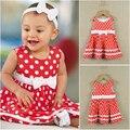 Симпатичная девочка костюм / детское платье / красное платье с круглым точки и белый бантом + красные круглые нью-горошек дети платья для девочек