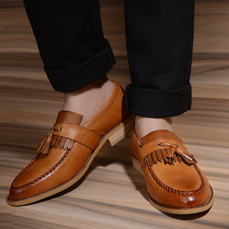 f686b3671197 marron Homme Souple Cuir Mocassins rouge Hommes Richelieus Chaussures  Marque Noir De Mode D affaires Casual ...