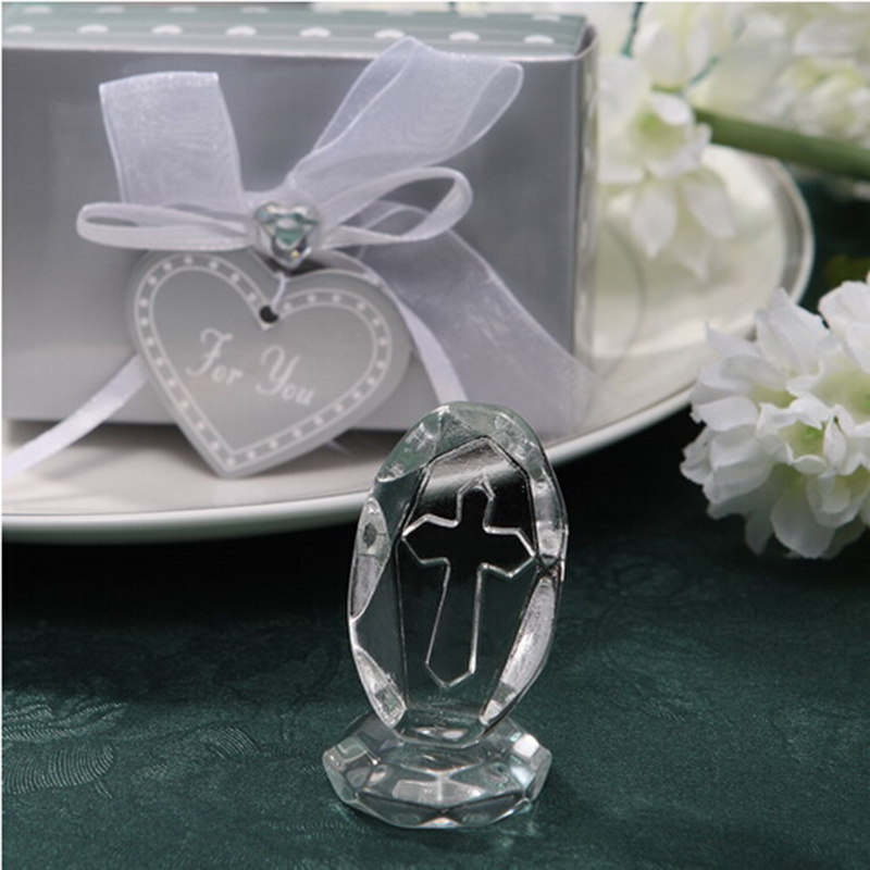 12pcs lot Small Wedding Favors Crystal Cross Standing Baby Christening Gifts First Communion Souvenirs