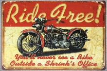 1 pc Ride Free Motorcycle Indiana bike Route 66 Motel Tin Plate Sign wall plaques cave Decoration Dropshipping metal Poster