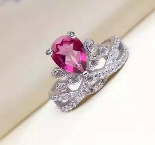 Natural pink topaz gem Ring S925 Silver Natural gemstone Luxury elegant crown Ring Chinese style Women party gift Ring Jewelry-in Rings from Jewelry & Accessories    1