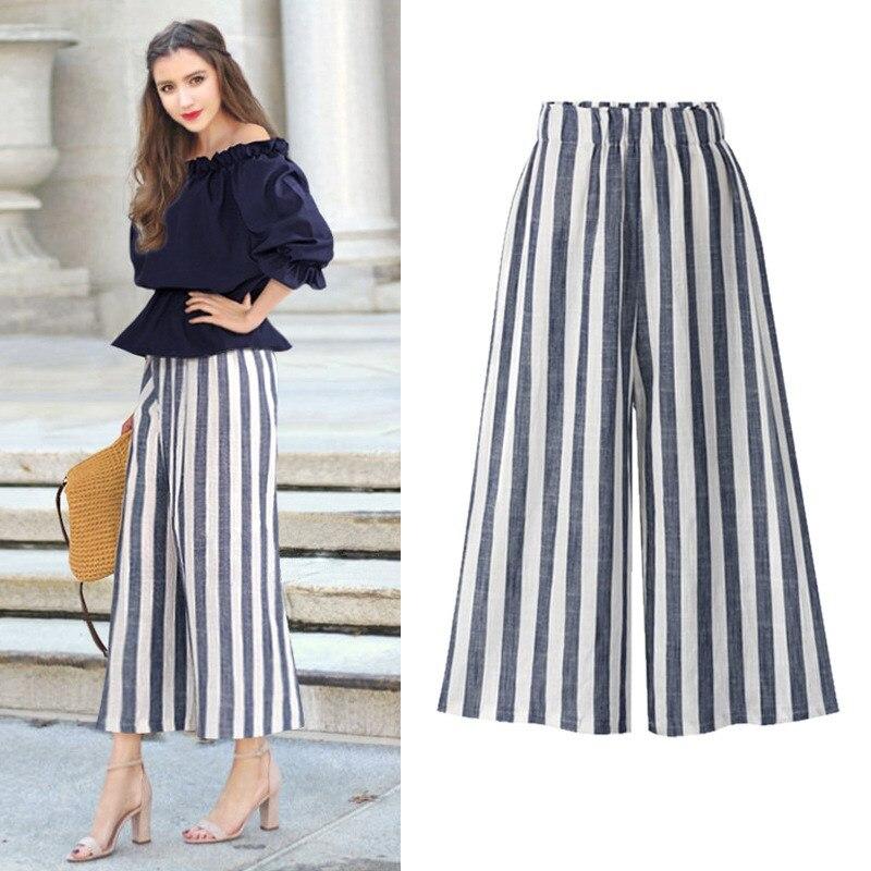 Plus Size High Waist Cotton Linen   Pants   Women Striped   Wide     Leg     Pants   Summer Thin Loose Trousers