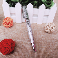 Luxury Full Metal Fountain Pen Silver Color High Quality Sculpture Ink Pens Office School Supplies Stationery