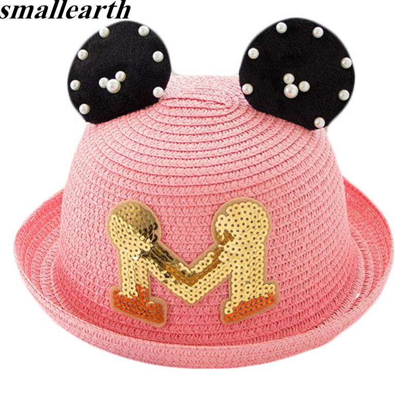 7a4b4657f0f9ee Summer Baby Straw Hat Baby Girls Beach Cap Child M Letter Ears Sun Hat For  Girls