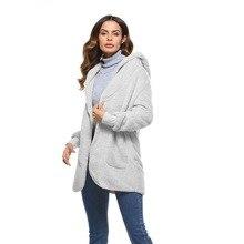 S-5XL из искусственного меха Тедди медведь куртки пальто Для женщин мода открыть стежка зимние пальто с капюшоном женский с длинным рукавом ворсистый жакет 2018 Горячее предложение