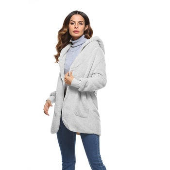 S-5XL Imitación Piel de oso de peluche oso chaqueta de abrigo de moda de las mujeres abierto punto abrigo de invierno con capucha de manga larga femenino Fuzzy chaqueta 2018 caliente nuevo