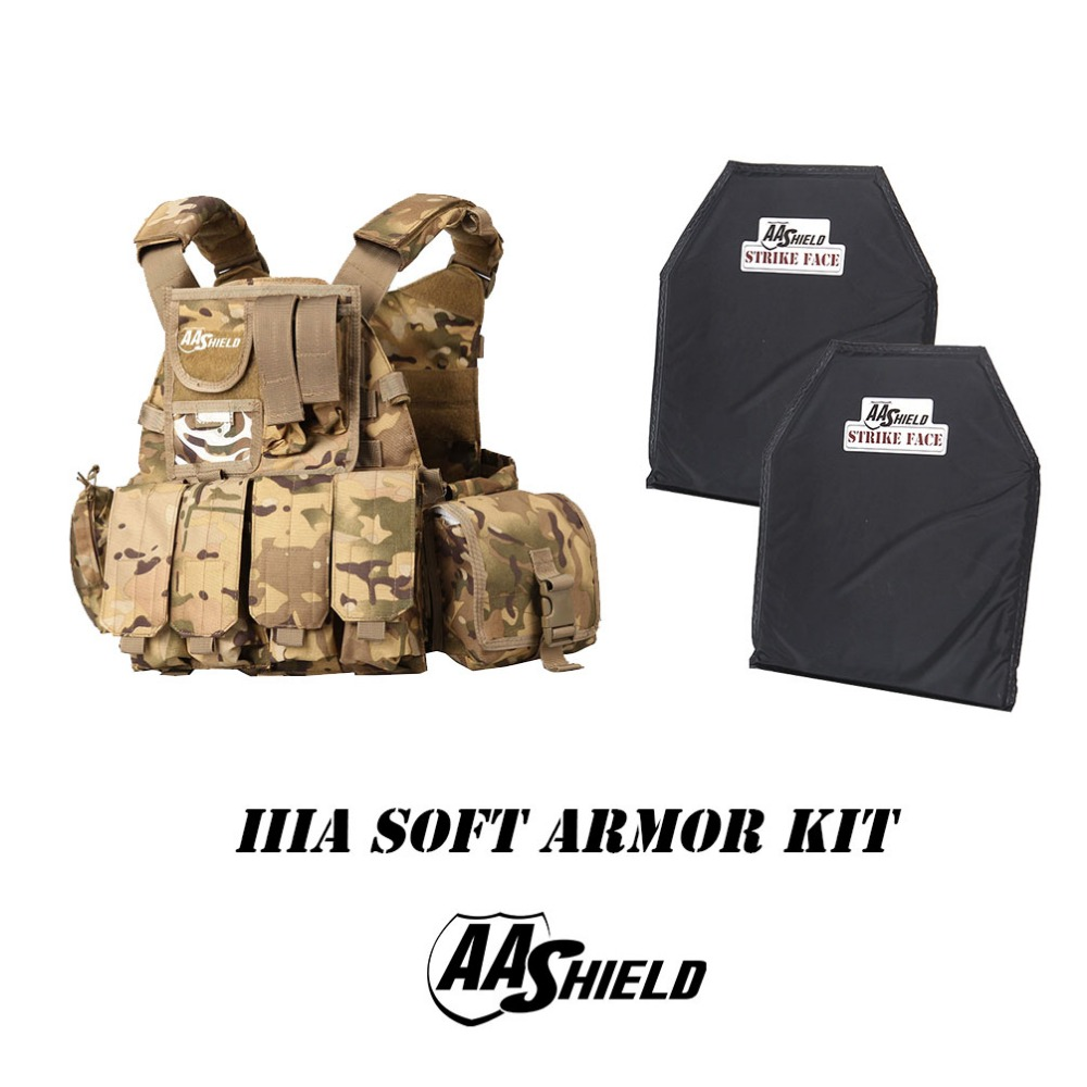 AA Shield Molle 6094 Style Military Tactical Vest Lvl IIIA Soft Armor Kit/MC