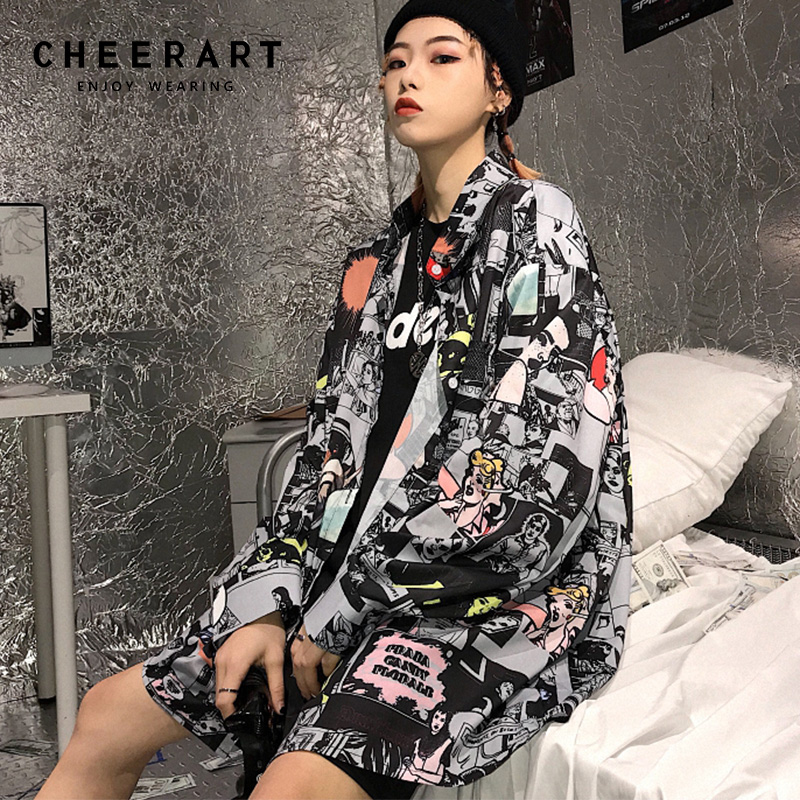 Cheerart Harajuku Oversized Button Down Shirts Women Top Cartoon Print Long Sleeve Shirt Japanese Streetwear Top Femme