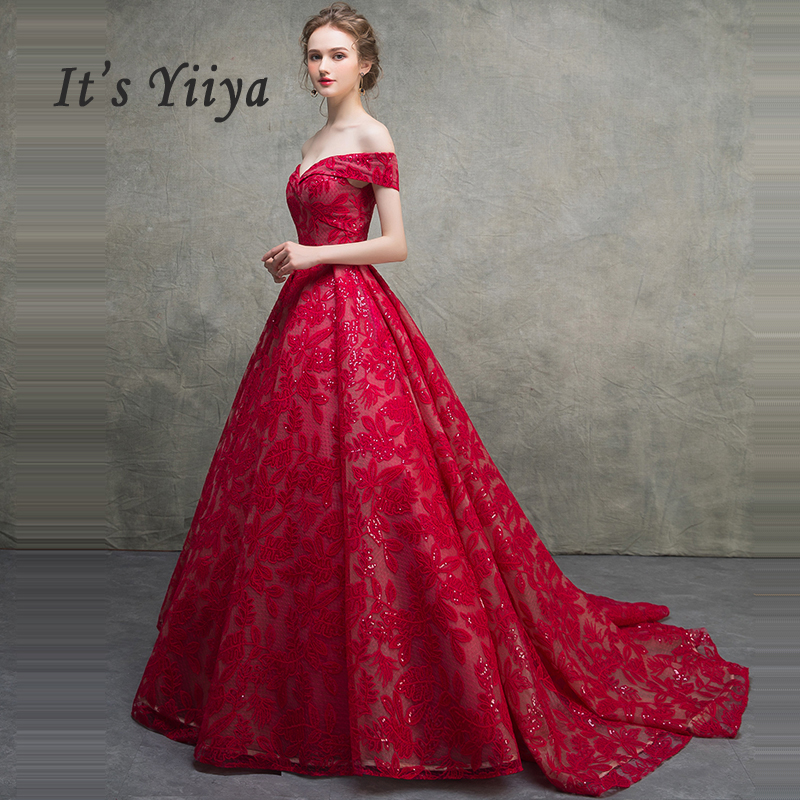 It's Yiiya Evening Dress Sequin Lace Women Party Dresses Plus Size Robe De Soiree 2019 Boat Neck Burgundy Long Formal Gowns E665