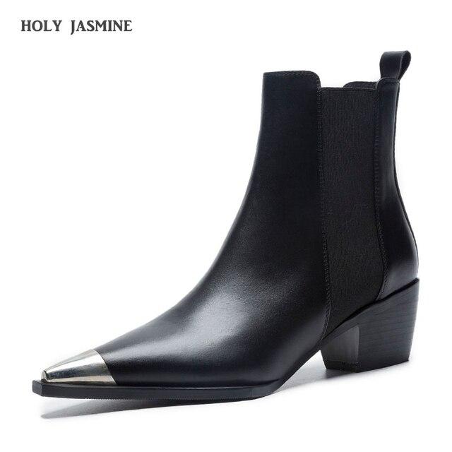 2019 Primavera/Autunno Classic Design Nero In Pelle Bianca Punta A Punta tacco Quadrato Chelsea Stivali Comfort Blocco delle Donne del Tallone scarpe