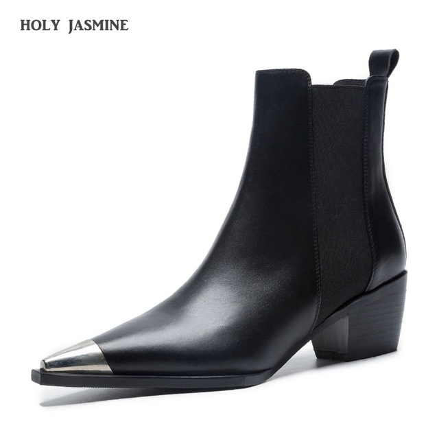 2019 Spring/Autumn Classic Design Black White Leather Pointed Toe  Square heel Chelsea Boots Comfort Block Heel Women's Shoes