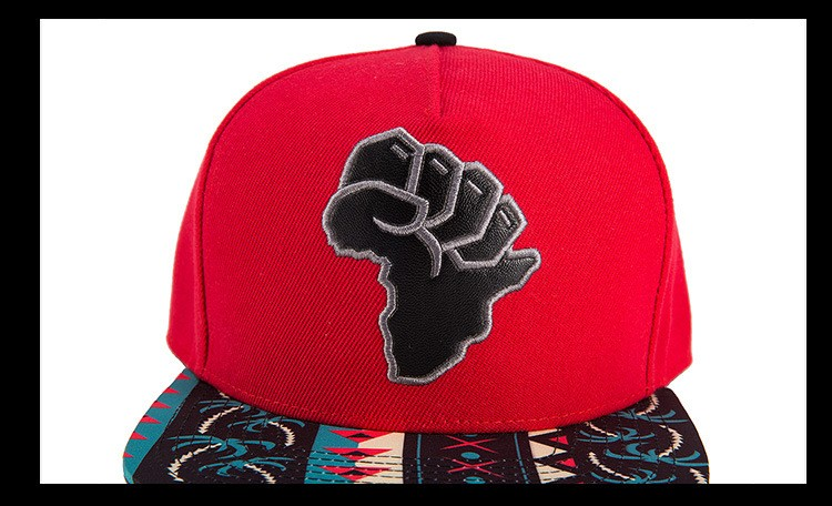 African Map Fist Snapback Cap - Front View