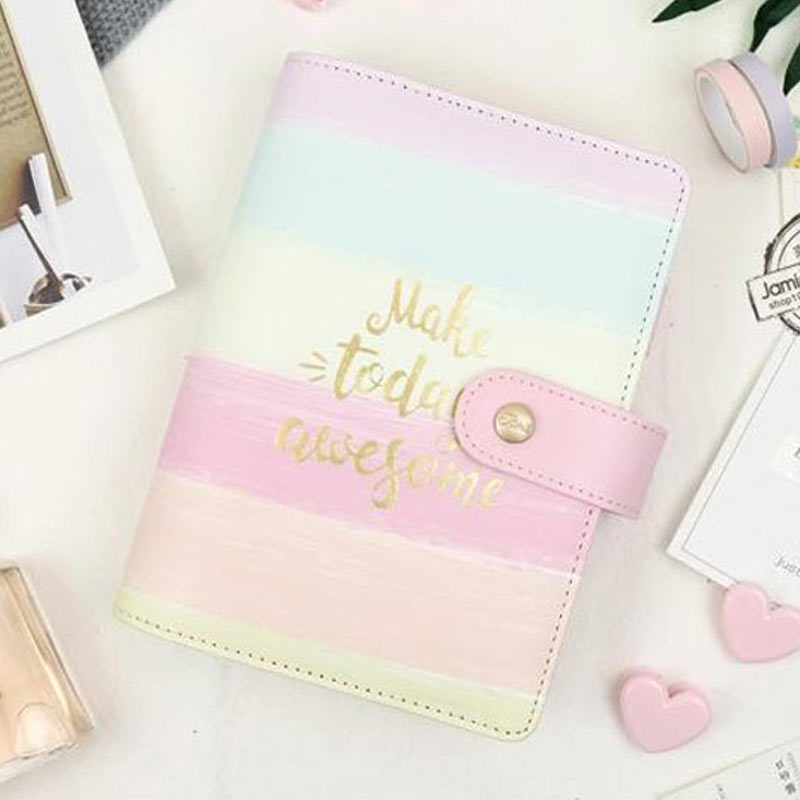 Yiwi Jamie Notes Cute Pink Leather Binder Notebook A5A6 2019 Planner Sweet Girly Diary Book Office & School Gift Stationery