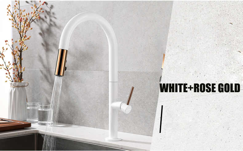 HTB1nTNEcvWG3KVjSZFgq6zTspXaf Newly Arrived Pull Out Kitchen Faucet Rose Gold and White Sink Mixer Tap 360 Degree Rotation Kitchen Mixer Taps Kitchen Tap