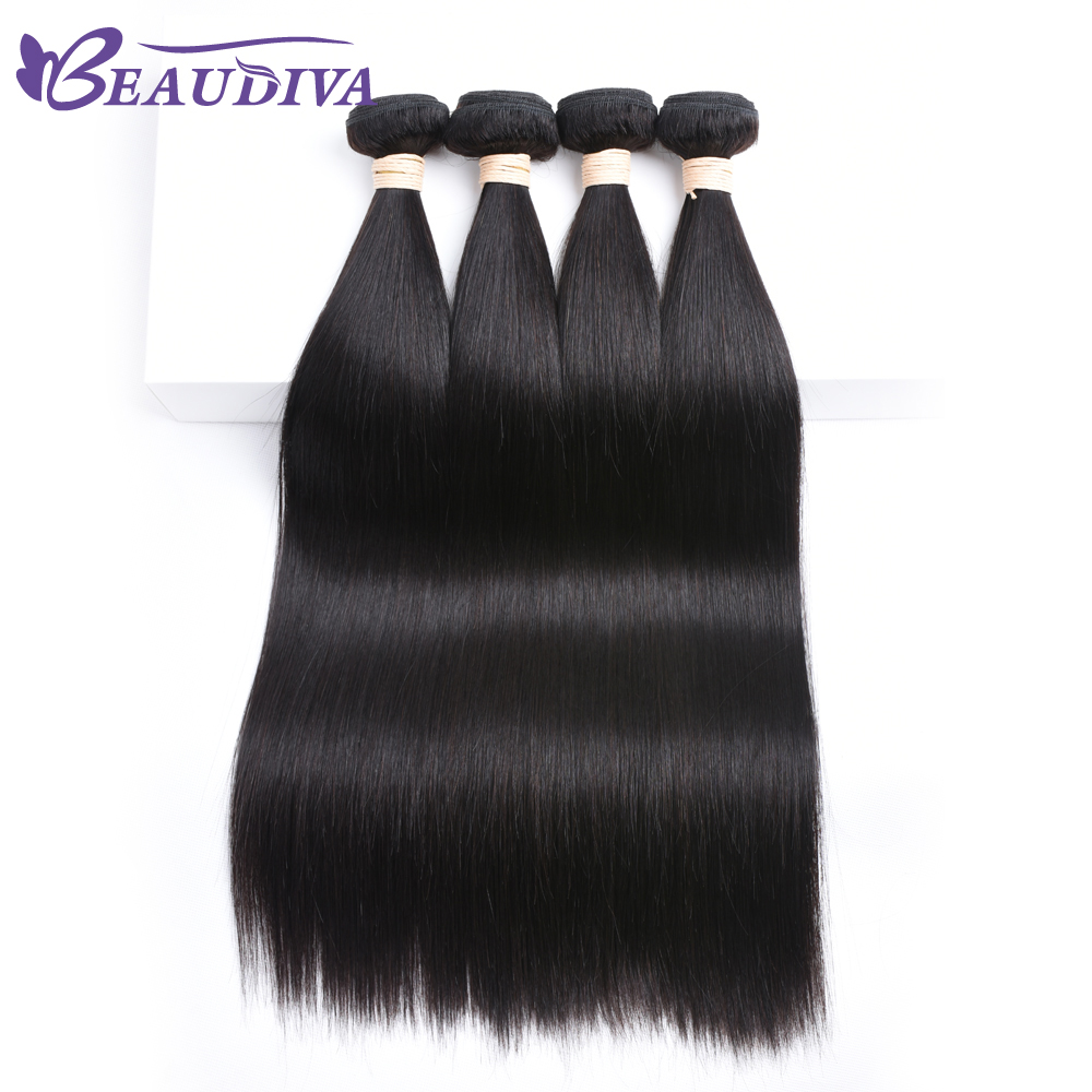 Beaudiva Hair 100% Human Hair Bundles Brazilian Straight Hair Weave 4 Piece Only 8-26 Inches 1# color Non-Remy Hair Extensions