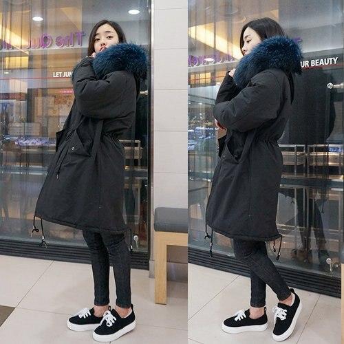 Black Coréenne Outwear D106 Fourrure Femmes Parkas Noir Hiver Nouvelle Laveur 2016 Doudoune Veste Raton De Capuche Imitation Mode Manteau À Haute HARnnTB