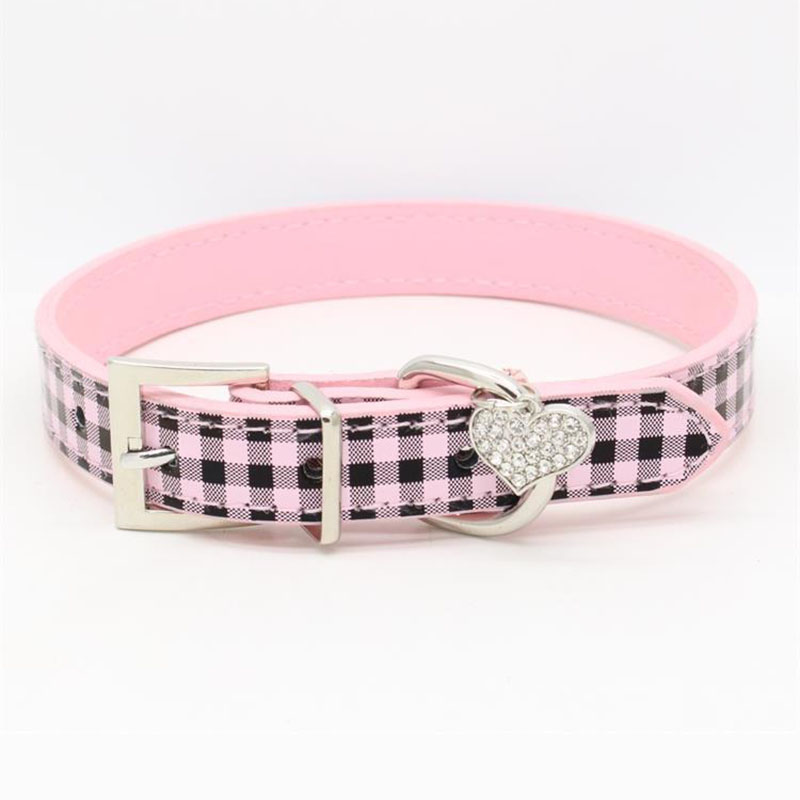 Adjustable Small Dog Collar Classic Plaid PU Leather Pet Cat Dog Puppy Collar with Cute Diamond Heart XS S M L Red Blue Pink