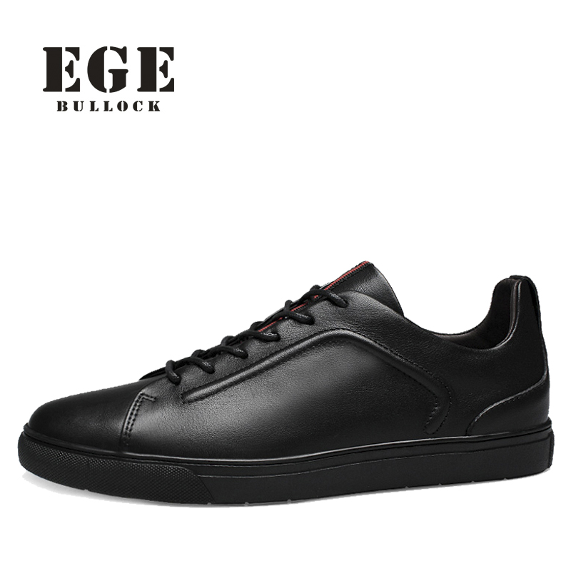 Men Black Shoes EGE Brand High Quality Cow Leather Sneakers Basic Spring New Style Flats Casual Breathable Shoes for Men relikey brand men casual handmade shoes cow suede male oxfords spring high quality genuine leather flats classics dress shoes